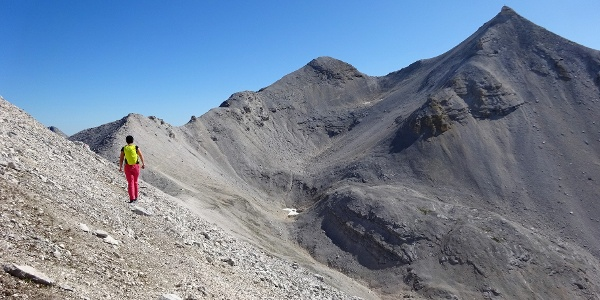 Am Toni-Gaugg-Höhenweg, ca. 20 min. vor der Biwakschachtel. Hinten Kl. und Gr. Seekarspitze. Durch das Kar zum Sattel, weiter über den Nordgrat führt der Anstieg auf die Gr. Seekarspitze.