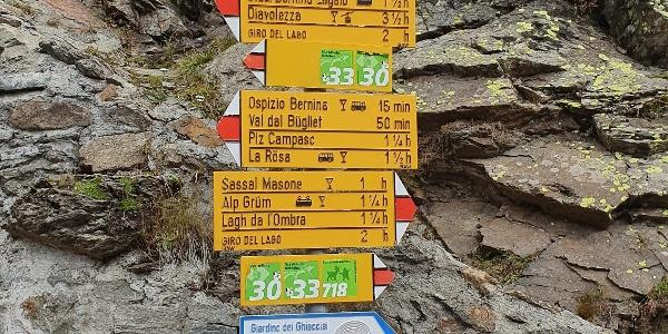 Wegweiser am Bahnhof Bernina Pass