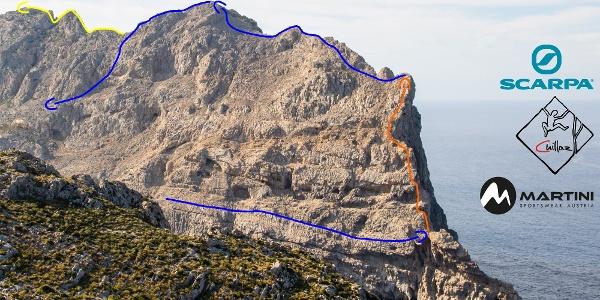 Cavall Bernat - Ostkante - Übersichtsbild - Topo