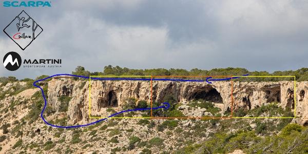 Bunker - Klettergarten im Süden von Mallorca - Topo, Übersichtsbild Zustieg.