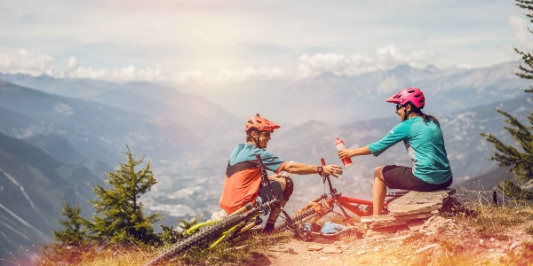 Mountain bikers enjoying the view above the Rhone valley