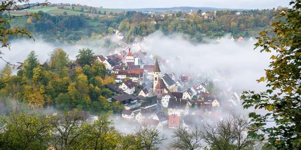 Aussicht auf die Schäferstadt Wildberg im Nagoldtal