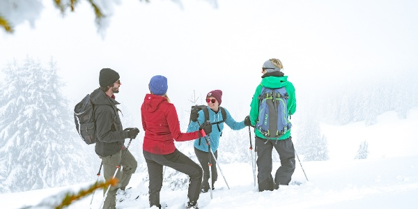 Schneeschuh laufen in der Gruppe