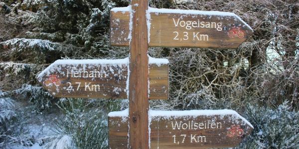 Der Weg in Richtung Wollseifen ist komplett ausgeschildert