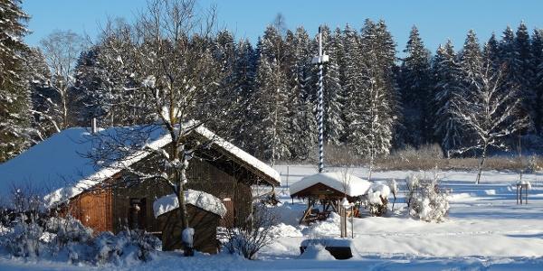 Faulenseehütte im Winter, Rieden am Forggensee