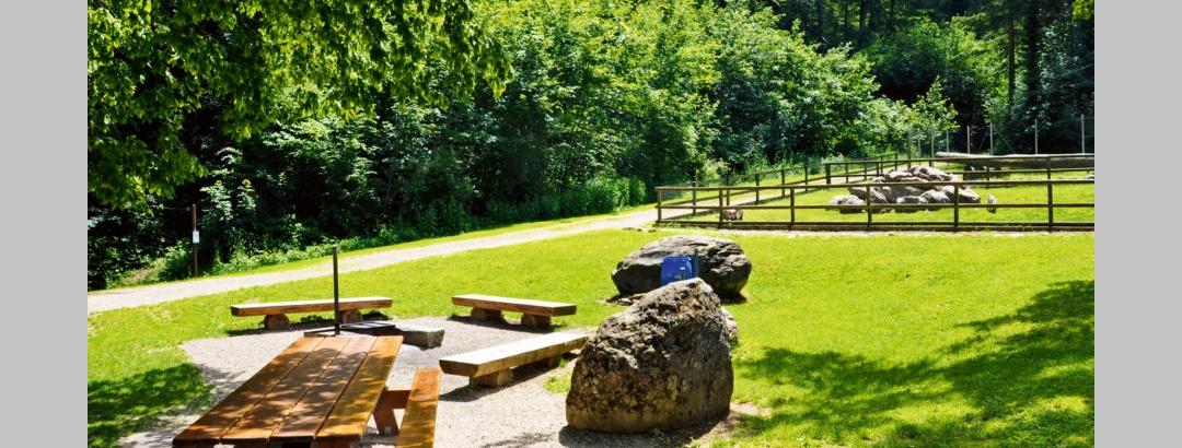 Tische bei der Feuerstelle im Tierpark Bad Zurzach