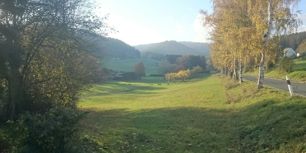 Blick auf Wohnmobilstellplatz Hesselbach am Naturfreibad
