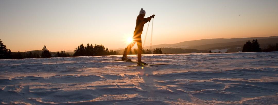 Sonnenuntergang im Skilanglaufzentrum Westfeld