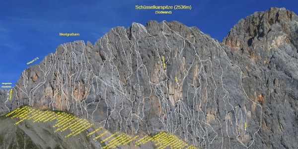 Gesamtübersicht der Routen an der Schüsselkar Südwand
