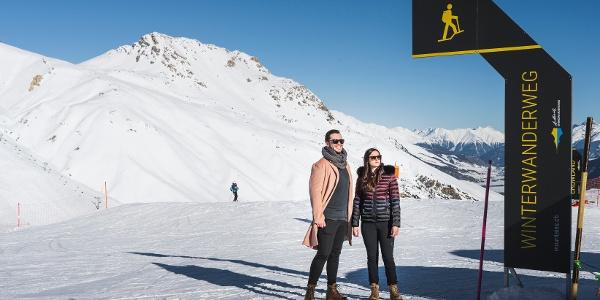winter hiking trail Corviglia-Marguns