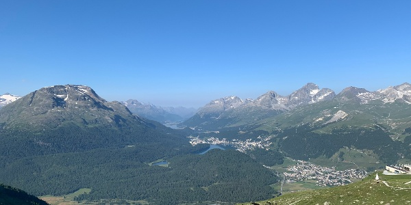 view from Muottas Muragl of the Engadin