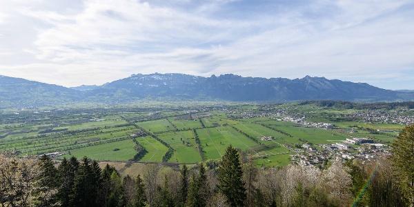 Blick auf das Liechtensteiner Unterland von Planken aus