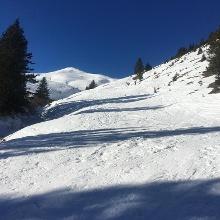 Pistenartig zerfahren vor dem Neuschnee am 18.1.20