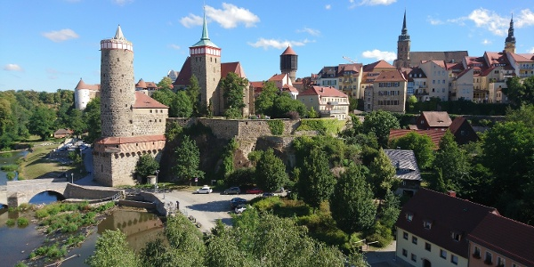 Bautzens Altstadt mit Michaeliskirche und Alter Wasserkunst