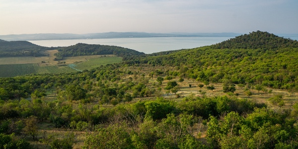 Távolban a viadukt, jobbra a Csúcs-hegy (Őrtorony-kilátó)