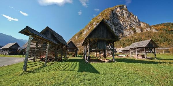 Hayracks below the village of Studor