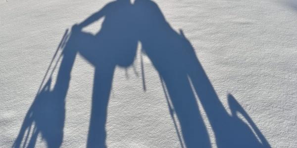 Schneeschuhgänger im Sonnenschein