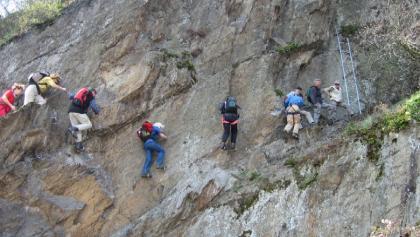 Am Mittelrhein-Klettersteig Boppard.