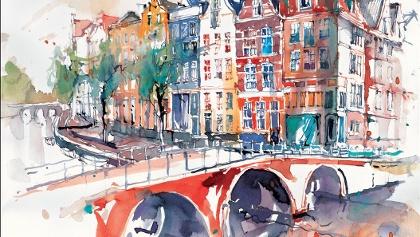 Amsterdam, Aquarell von Erwin Kastner