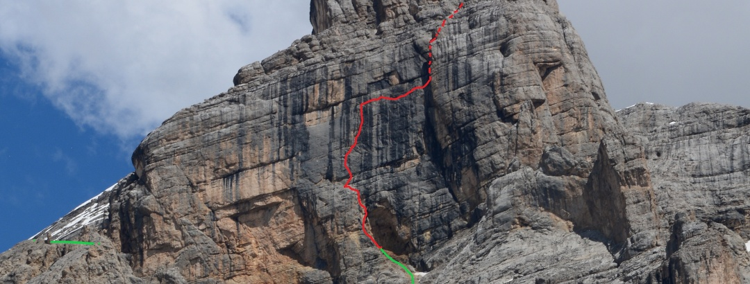 Wandbild der Lavarella Westwand mit der Dolosilla
