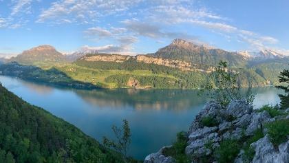 Panorama-Foto vom Klettergebiet Trid aus