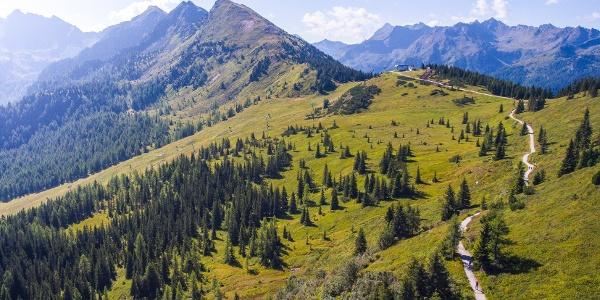 Planai Panorama-Rundweg und der Krahbergzinken im Hintergrund