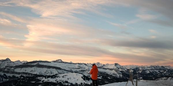 Sonnenaufgang am Riedberger Horn mit traumhaftem Ausblick in Richtung Gottesackerplateau