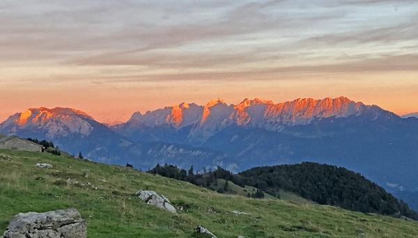Abendrot am Kaisergebirge - Blick von Himmelmoos Brünnstein