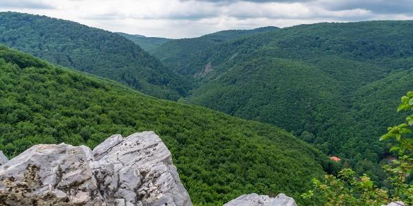 A Fehér-kő kibillent mészkő rétegei és a Szinva-völgy