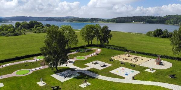 Luftbild Freizeit- und Erlebnisgarten Talsperre Pöhl