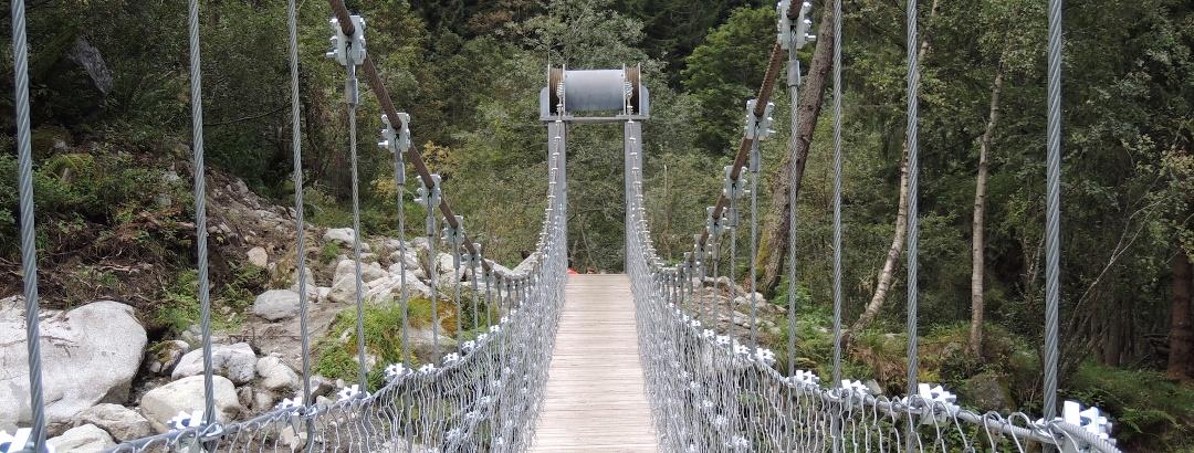 """Passerella in funi d'acciaio lungo """"Tutto il bosco in un sentiero"""", Val di Borzago"""