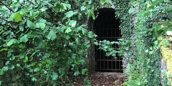 Eingang zu einem alten Schacht auf dem Weg Richtung Bilstein
