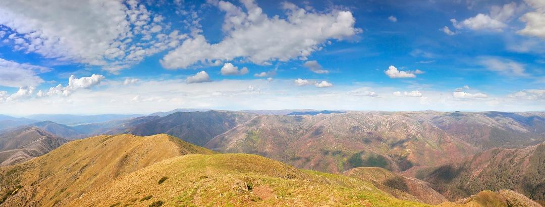 Der Blick vom Gipfel des Mount Feathertop, nach Nordosten gerichtet, zeigt die Fainters und andere Berge