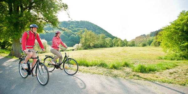Radfahrer auf der Aubach-Tour