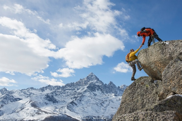 Mountaineers in the Piedmont Alps