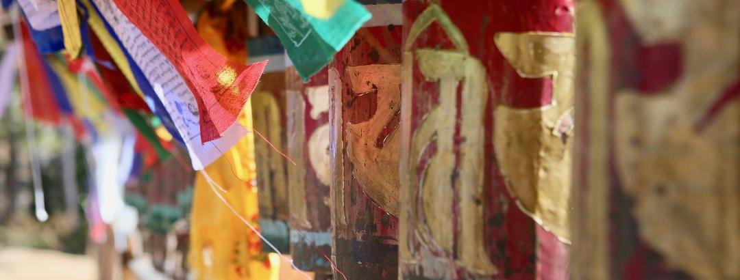 Buddhistische Gebetsmühlen