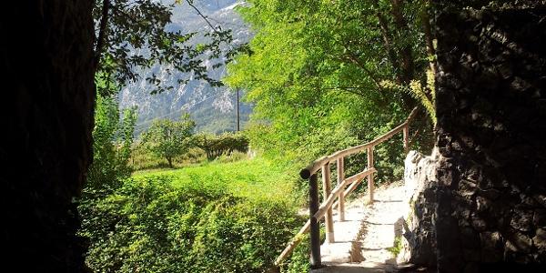 Brücke am Einsteig zum Klettersteig.