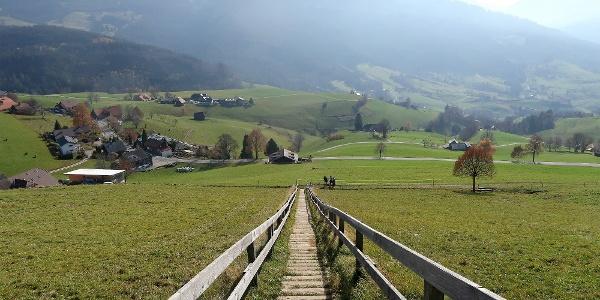 Holztreppe zum Guggershorn.