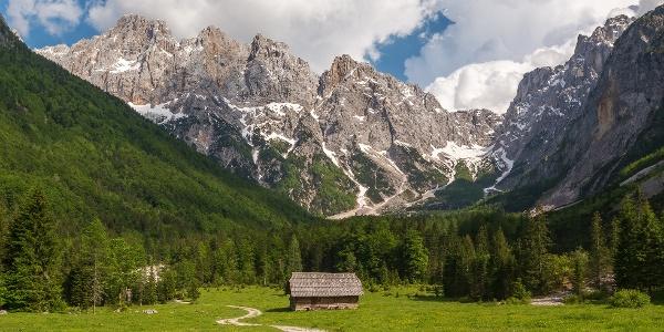 Beautiful scenery in the mountains of Julian Alps