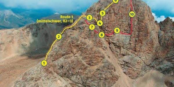 Topo der beiden Piz Trovat - Klettersteige.