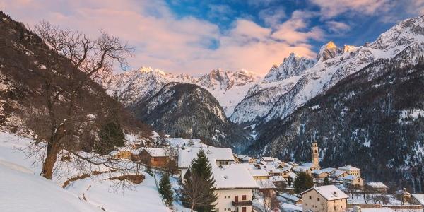 Soglio al tramonto, Val Bregaglia, Svizzera