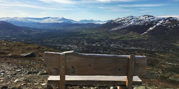 Ta deg en pause på kvilebenken som står på toppen av Våttåhaugan.