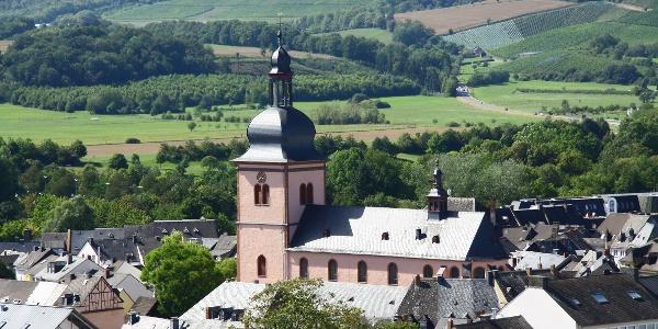 Blick auf St. Markus Kirche und Wittlicher Weinberge