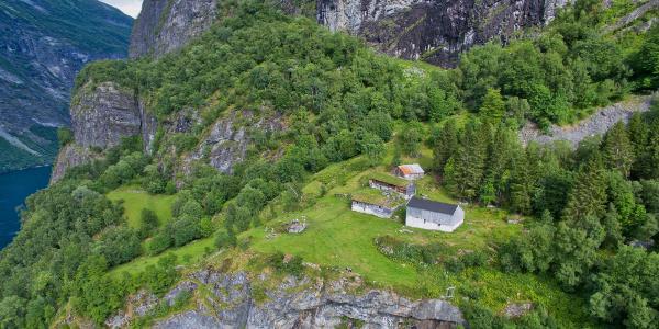 Aerial view over Skageflå Mountain Farm.