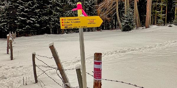 Markierungen beim Einstieg zum Wanderweg