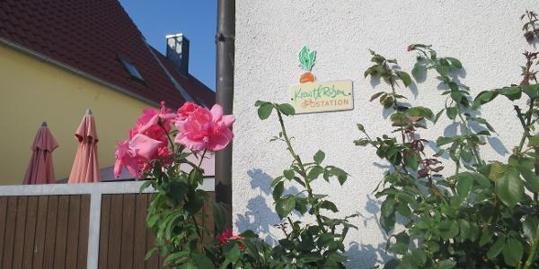 Rasten am Kraut und Rüben Radweg im Biergarten