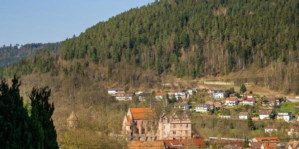 Blick zurück auf das Kloster auf halber Höhe Richtung Calw
