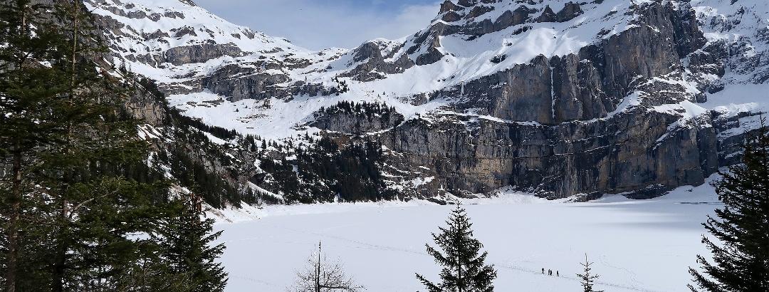 Blick vom Läger-Rundweg auf den Oeschinensee.