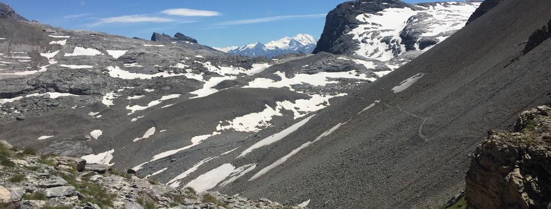 Blick vom Chindbettipass Richtung Südwest: Platthörner, Mischabelgruppe, Rote Totz