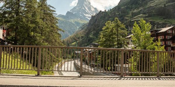 View from the church bridge to the Matterhorn